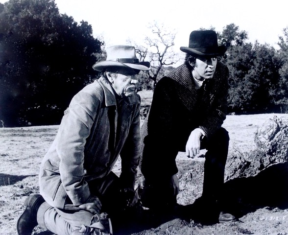 "Black and white still photo of Rick Lenz and Richard Boone from the movie, ""Hec Ramsey"""